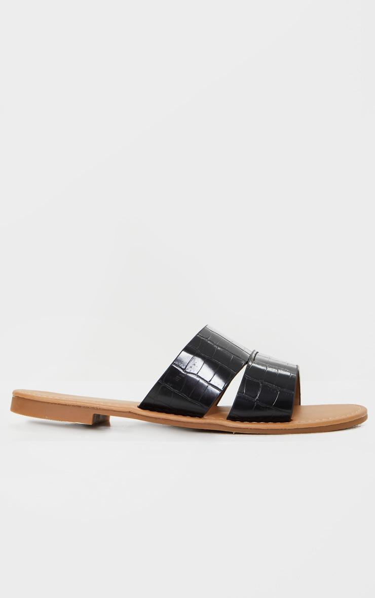 Black Croc Wide Fit Double Strap Mule Flat Sandal 3