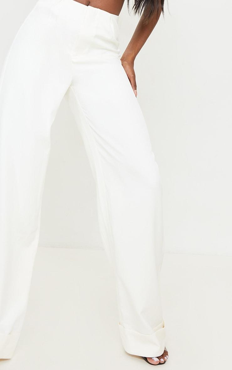 Tall White Woven Turn Up Hem High Waisted Pants 4