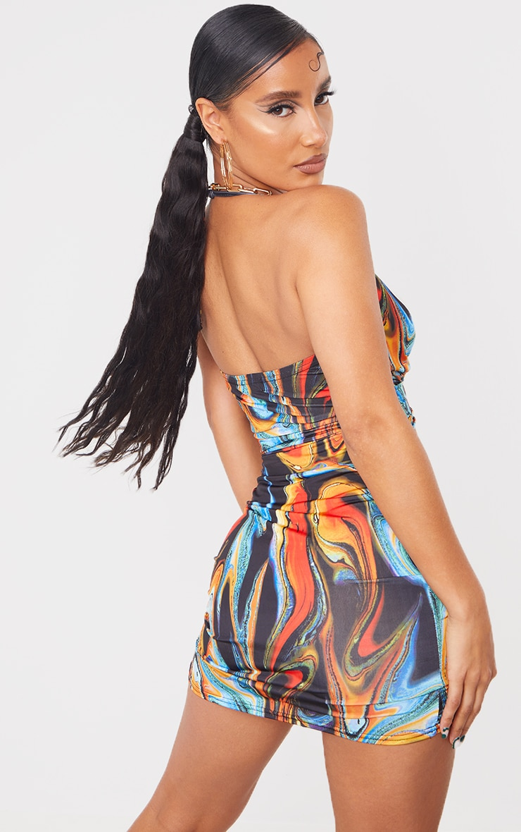 Multi Marble Print Strappy Waist Cut Out Bodycon Dress 2