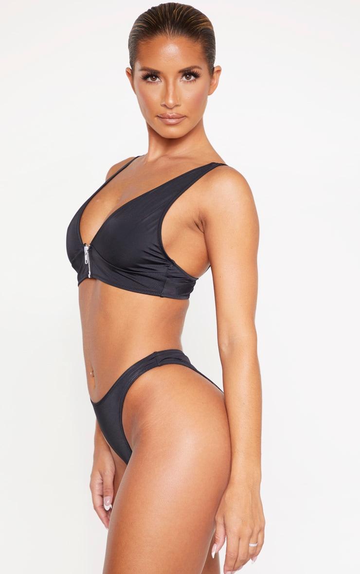 Black Recycled Mix & Match High Leg Bikini Bottom 2