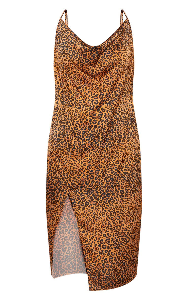Plus Leopard Print Strappy Satin Cowl Midi Dress 3