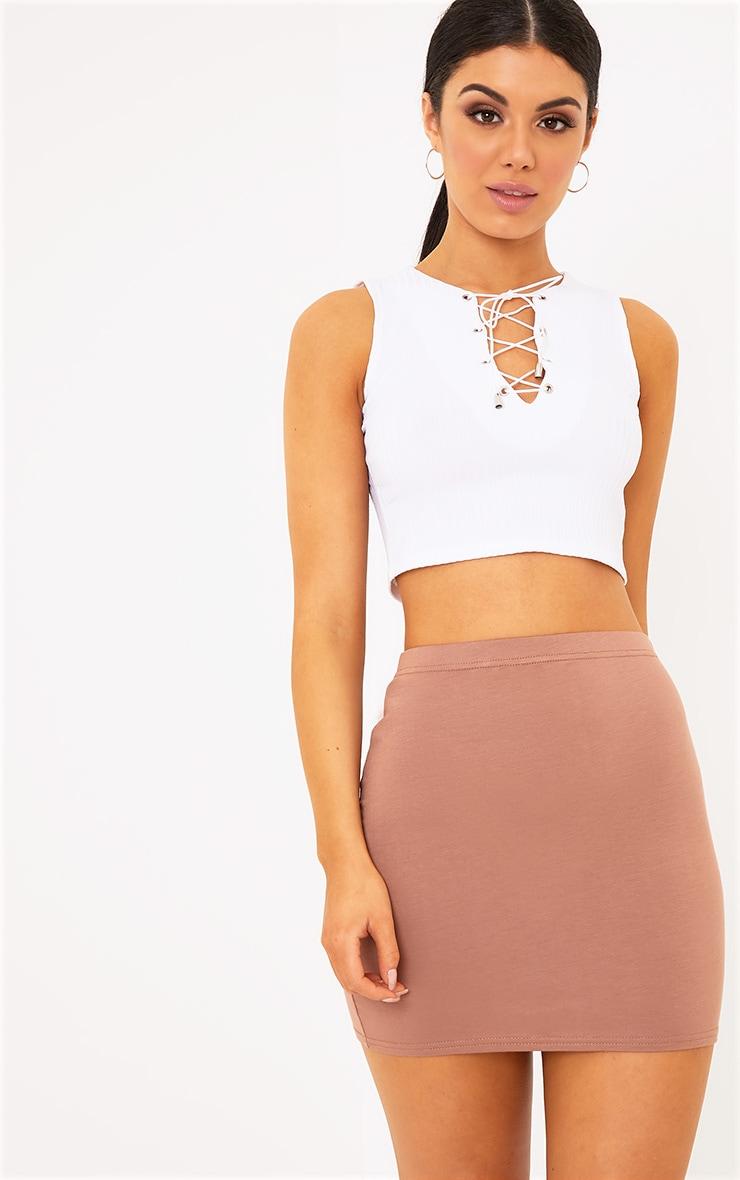 Basic Camel Mini Skirt 5