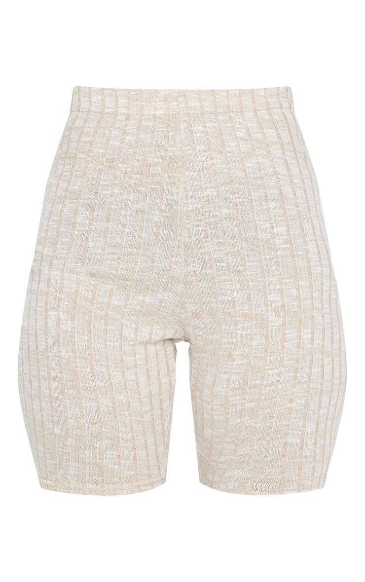 Oatmeal Ribbed Knitted Bike Shorts 6