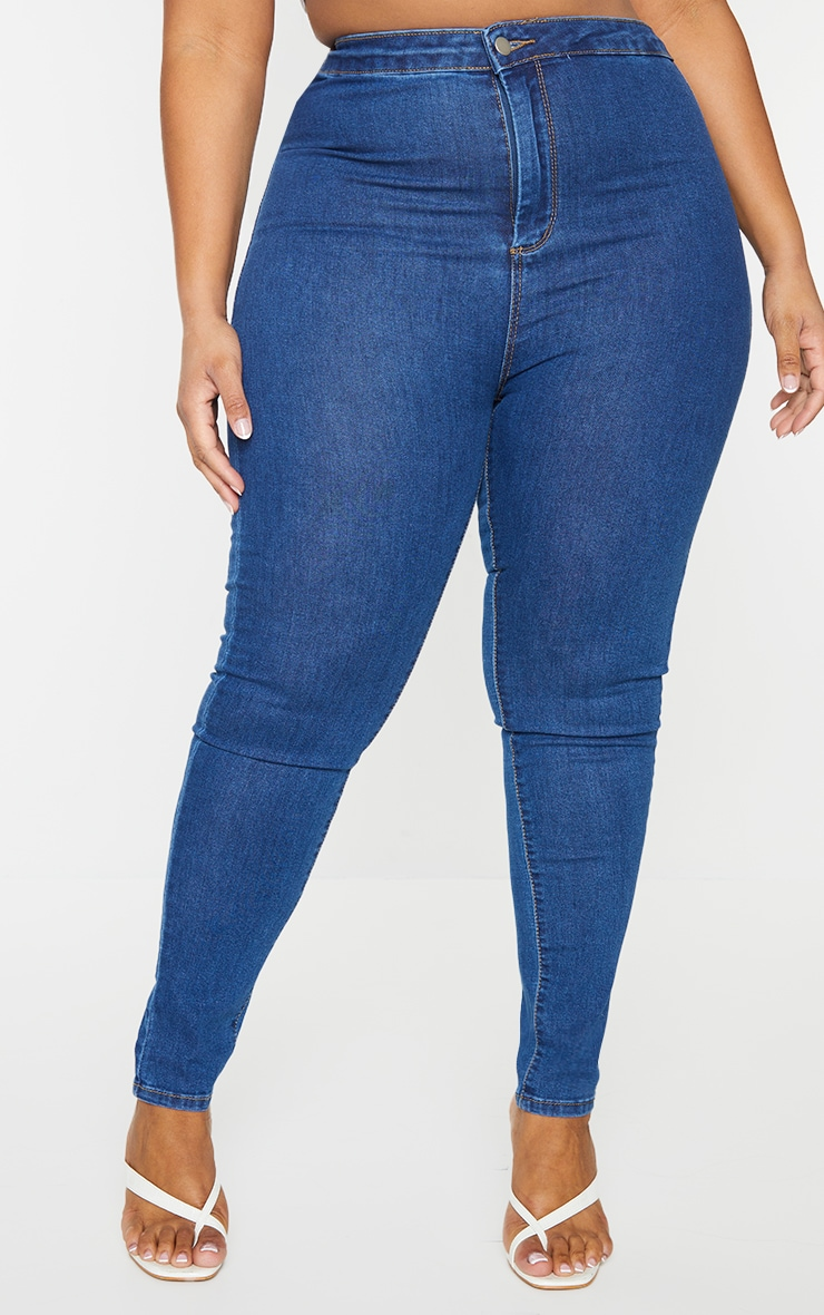 PRETTYLITTLETHING Plus Mid Blue Wash Disco Skinny Jeans 2