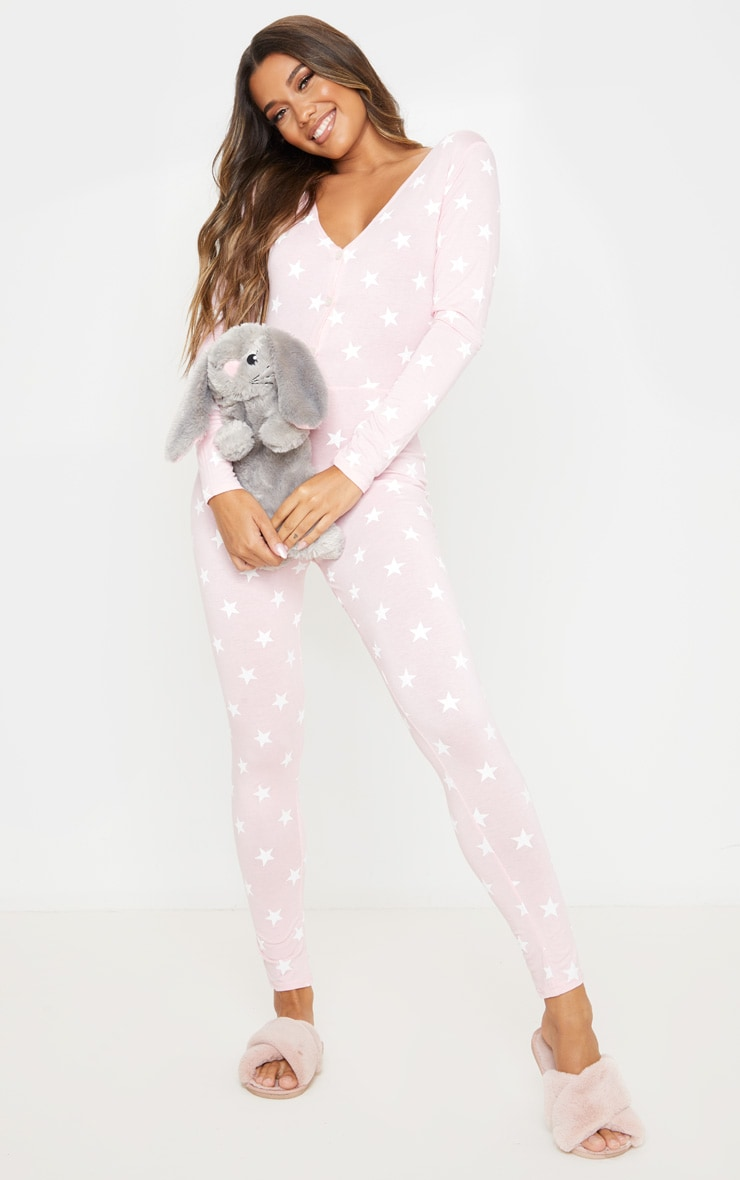Baby Pink Star Print Onesie 1