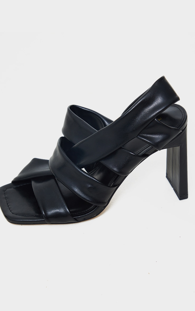 Black PU Square Toe Quilted Weave Flat Heeled Sandals 4