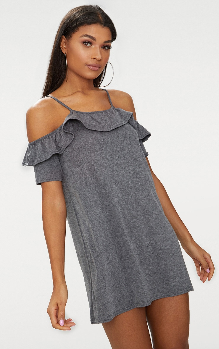 Charcoal Jersey Cold Shoulder Shift Dress 2