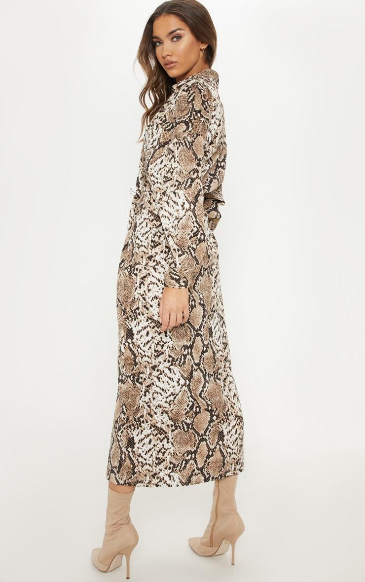 Brown Satin Snake Midi Dress 2