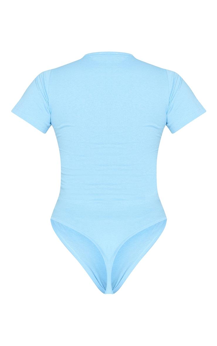 PRETTYLITTLETHING Blue Est 2012 Cotton Embroidered Short Sleeve Bodysuit 6