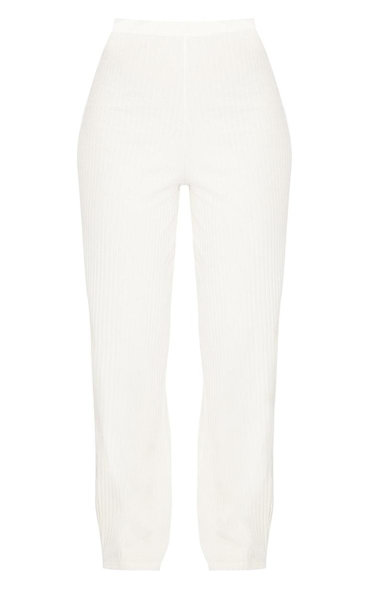 Cream Premium Ribbed Wide Leg Pants 5
