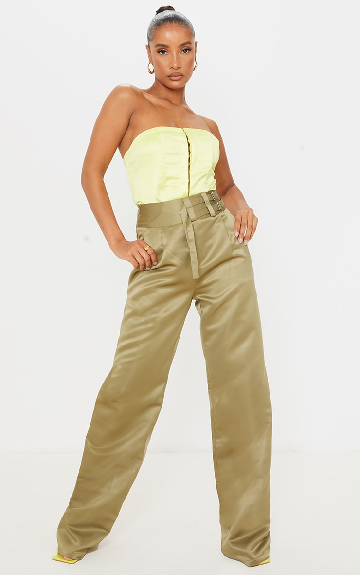 Olive Satin Buckle Detail Wide Leg Trousers 1
