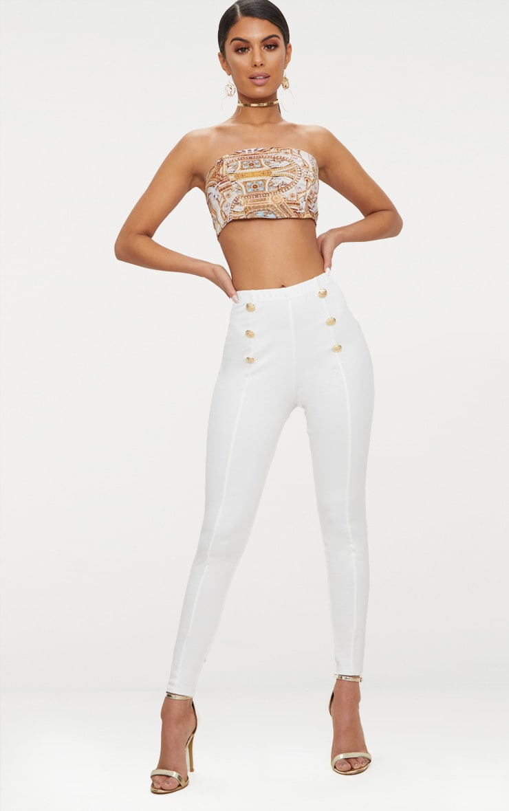 White Button Detail High Waisted Leggings 1