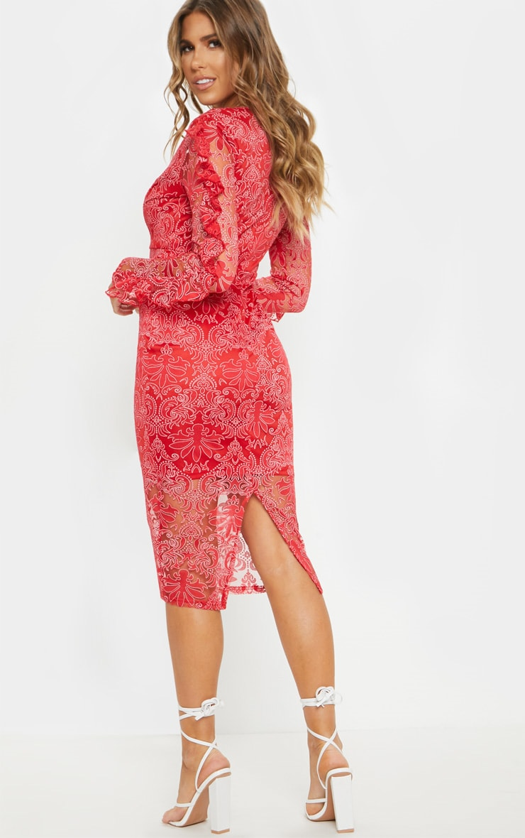 Red Lace Plunge Frill Sleeve Midi Dress 2