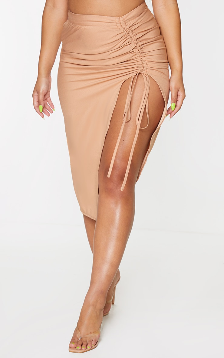 Camel Woven Ruched Detail Midi Skirt 2