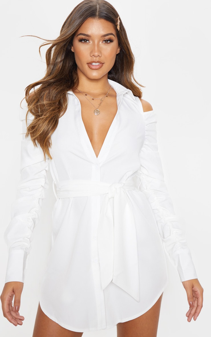 White Cold Shoulder Ruched Shirt Dress 1