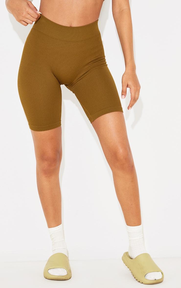 Petite Olive Contour Rib Seamless Bike Shorts 2