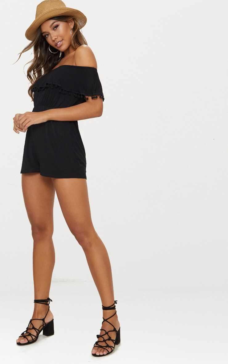 Black Jersey Bardot Pom Pom Playsuit 4