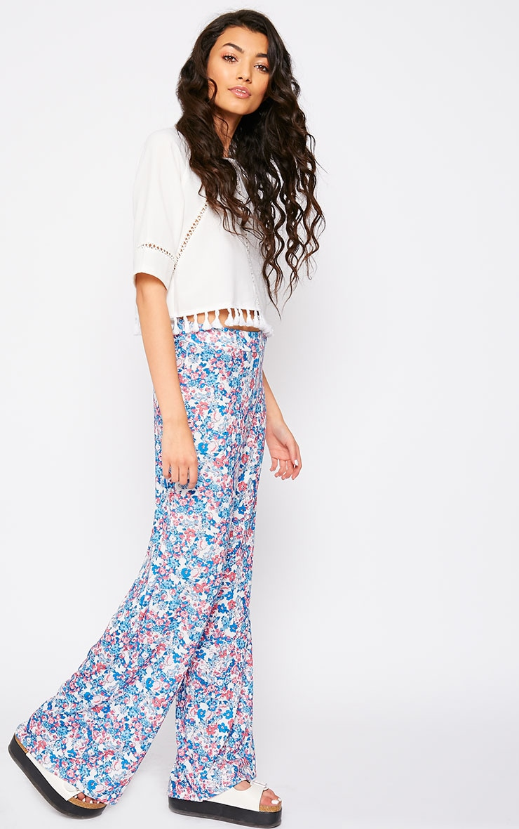 Flo Pink Floral Palazzo Trousers 1