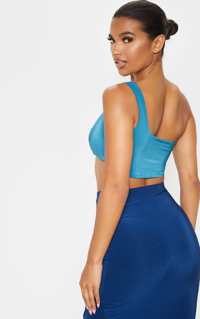 Petrol Blue Slinky One Shoulder Crop Top