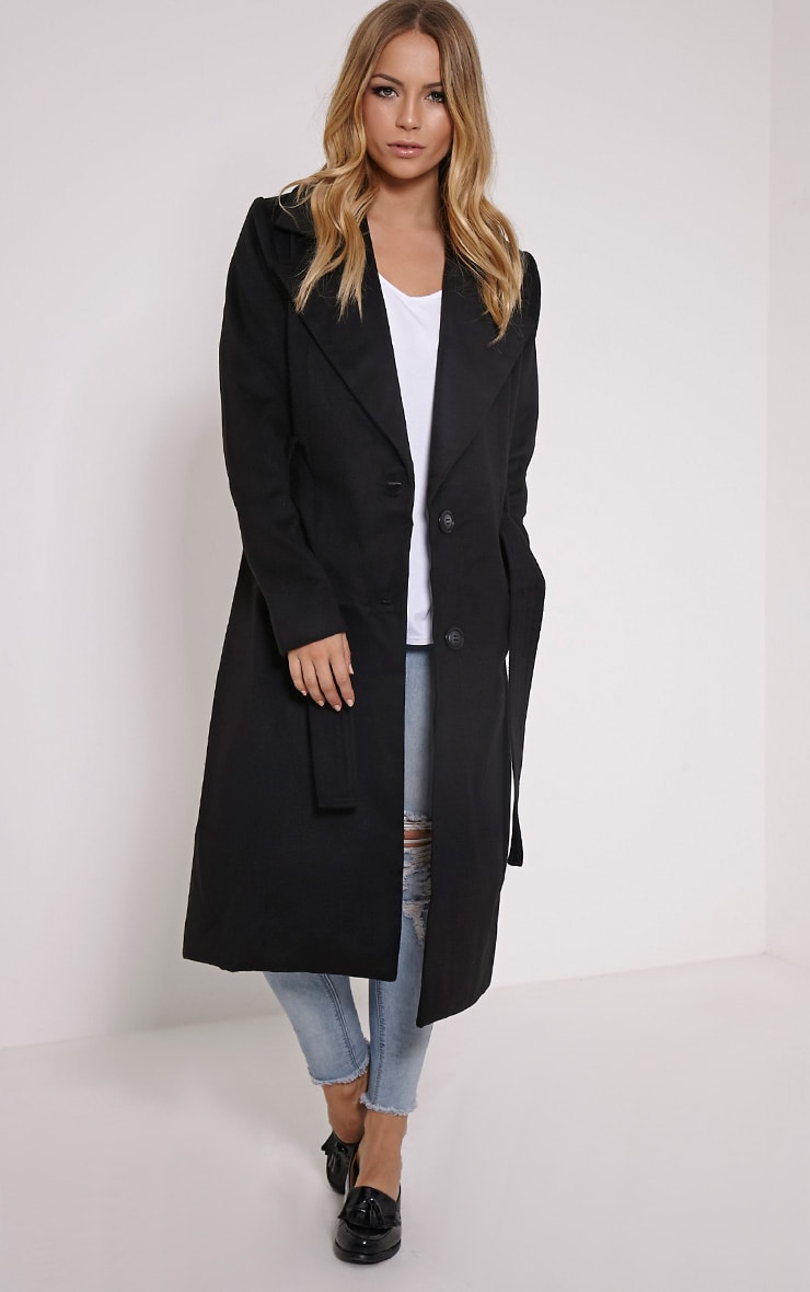 Gwenore Black Belted Waisted Longline Coat 4