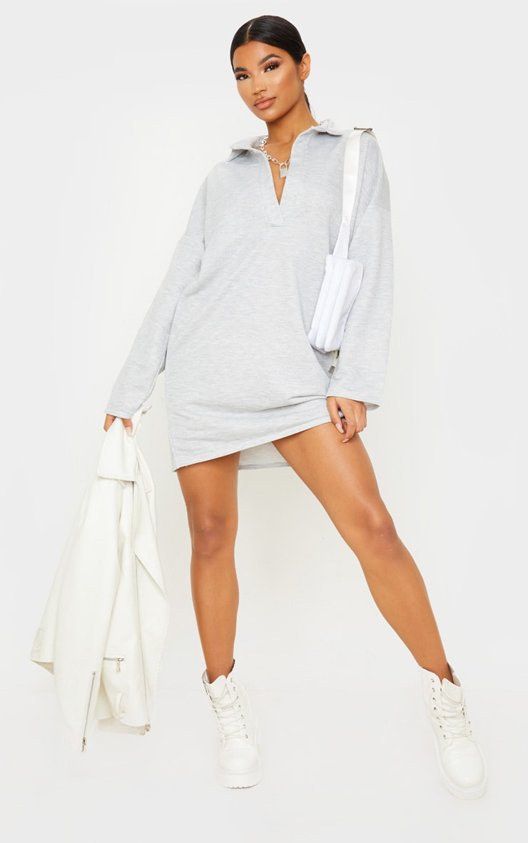 Grey Collar Detail Sweater Dress 1