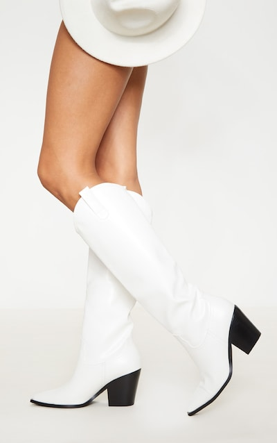White Mid Calf Western Boot