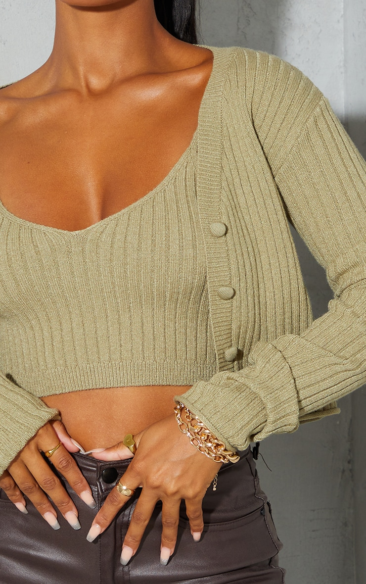 Light Khaki Soft Ribbed Knitted Button Up Cardigan 4