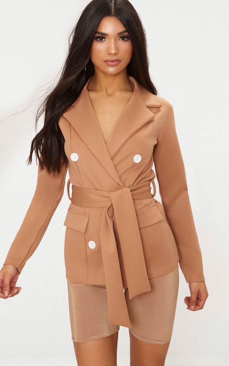 Camel Double Breasted Belted Blazer 1