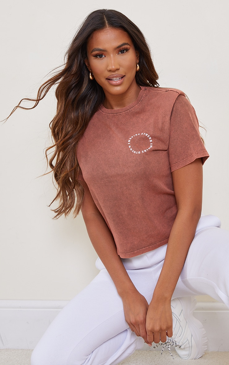 Chocolate Inspire Others Shoulder Pad Printed Washed T Shirt 1