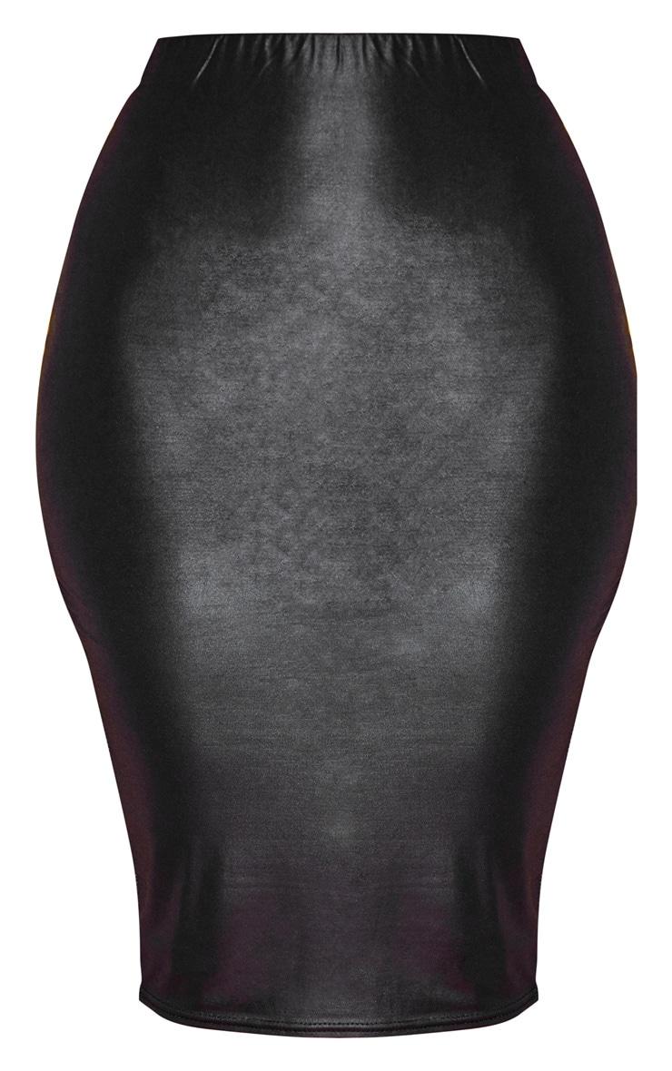 Black Wet Look Midi Skirt  3