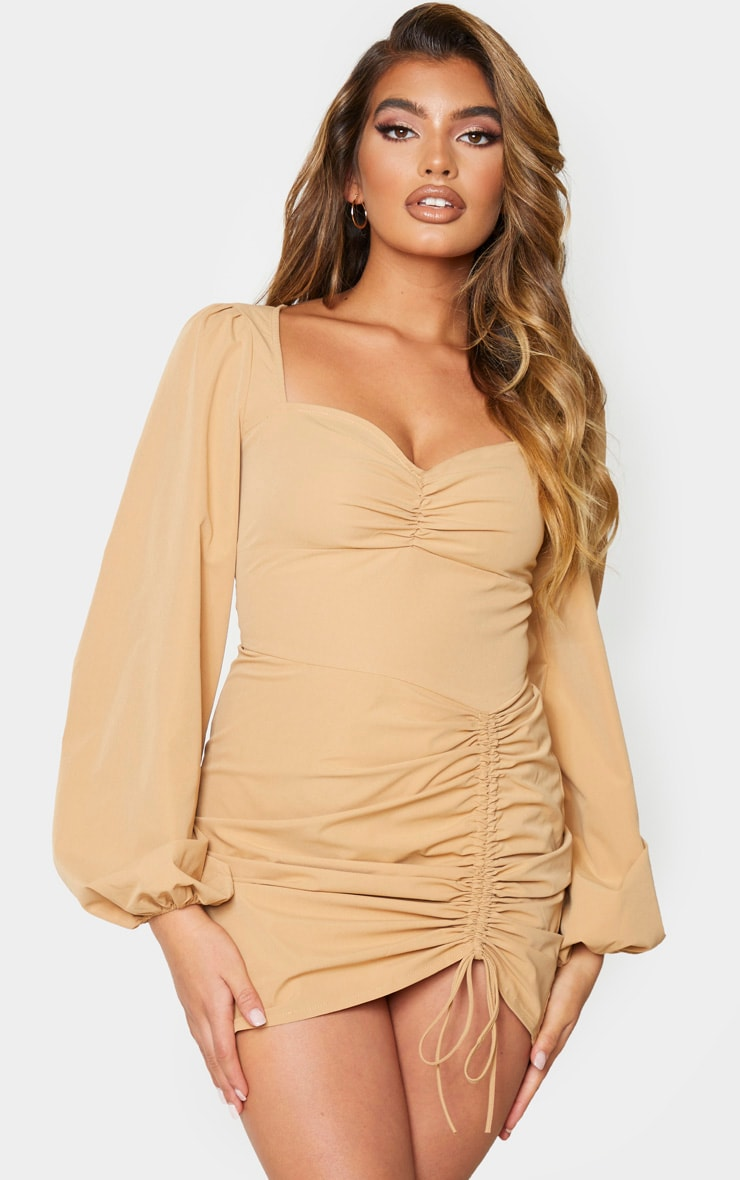 Stone Long Sleeve Sweetheart Neck Ruched Bodycon Dress