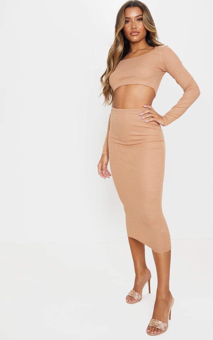 Camel Rib Crop And Skirt Set 1