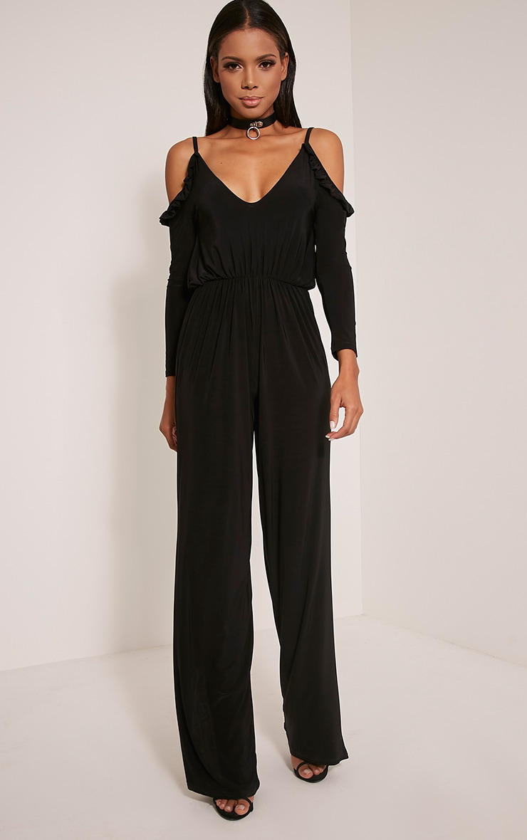 Krisha Black Frill Detail Cold Shoulder Jumpsuit 1