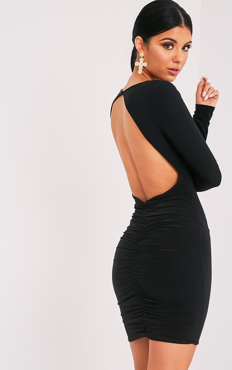 Alisiah Black Ruched Back Bodycon Dress 1