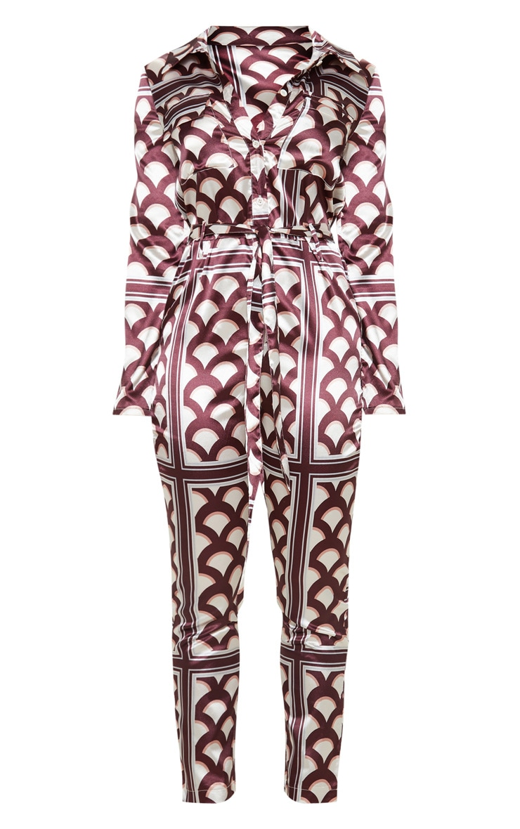 Petite Plum Satin Geometric Button Up Jumpsuit 3