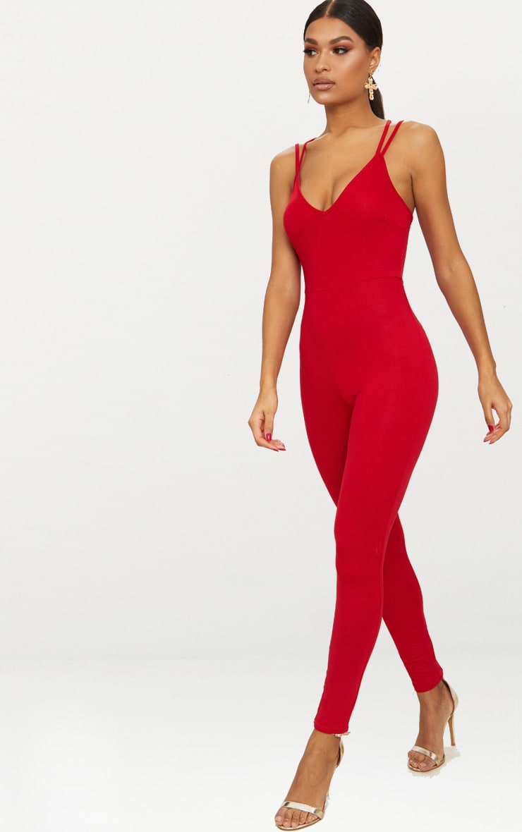 Red Jersey Cross Back Jumpsuit 4