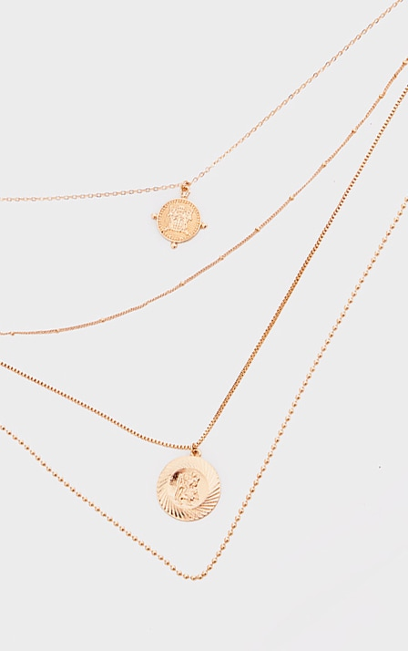 Gold Roman Coin Charm Layering Necklace 3