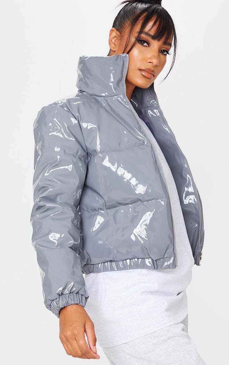 Dark Grey Vinyl Puffer Coat 4