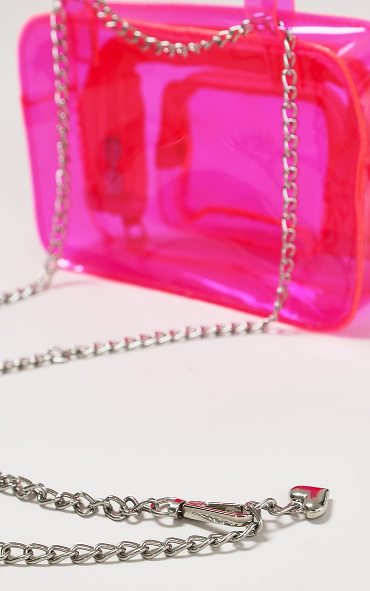 Pink Clear PU Chain Belt Bag 3