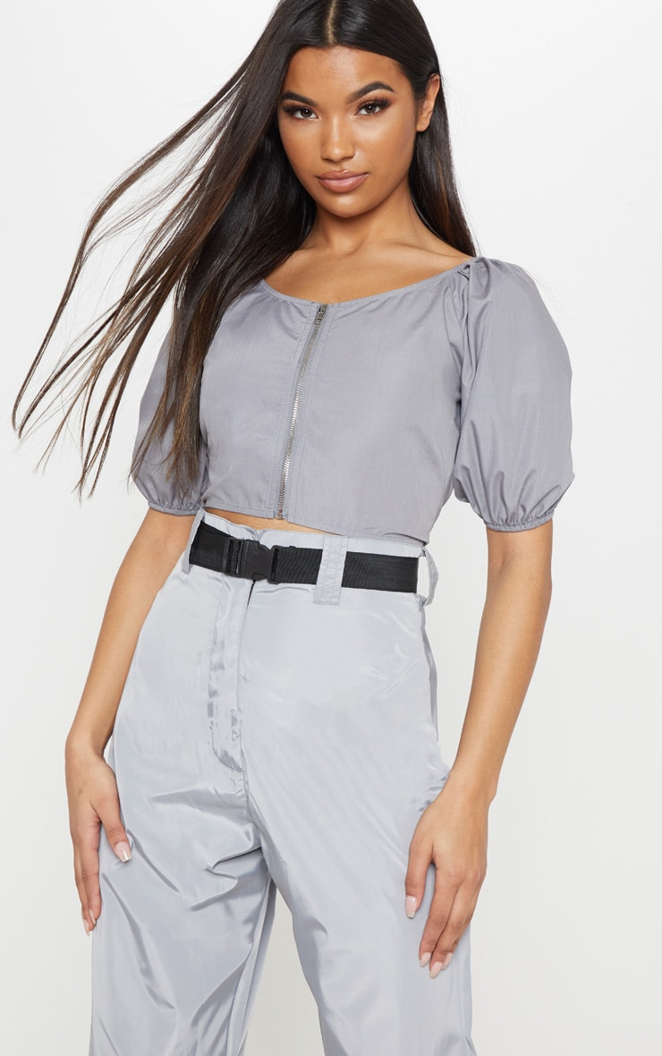 Space Grey Zip Front Puff Sleeve Crop Top 1