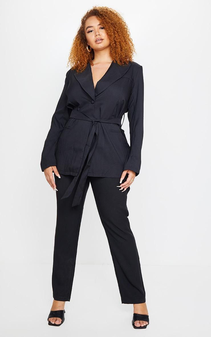 PLT Plus - Pantalon droit à taille haute en maille noire 1