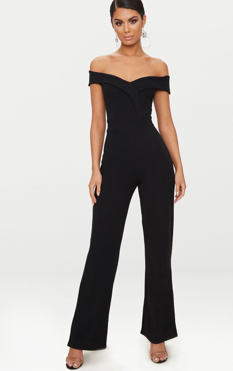 Black Crepe Bardot Folded Detail Jumpsuit 1