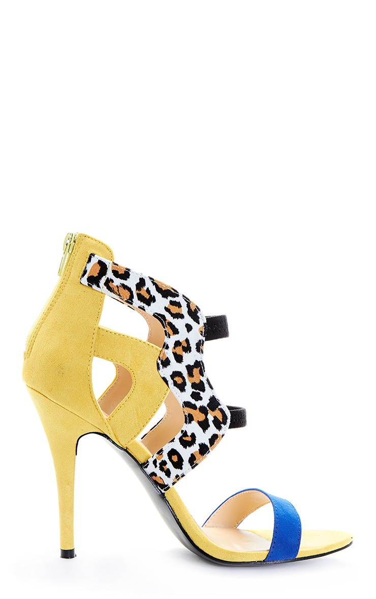 Deni Yellow Leopard Contrast Suedette Heeled Sandal 5