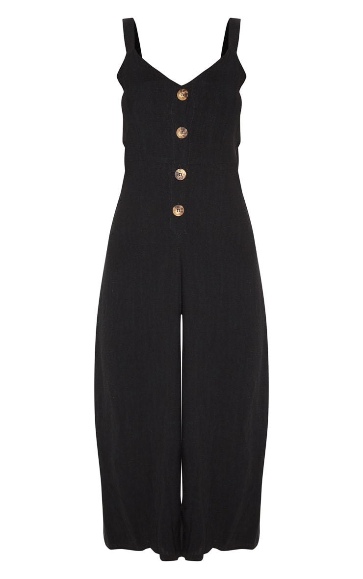 Black Woven Button Front Culotte Jumpsuit 3