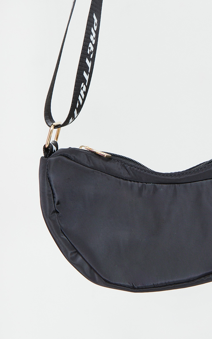 PRETTYLITTLETHING Black Nylon Cross Body Bag 2