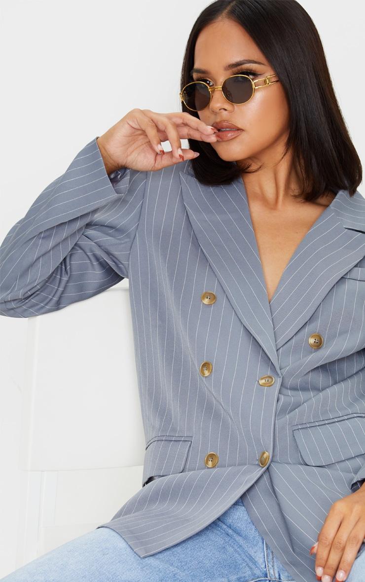 Grey Oversized Pinstripe Woven Blazer 5