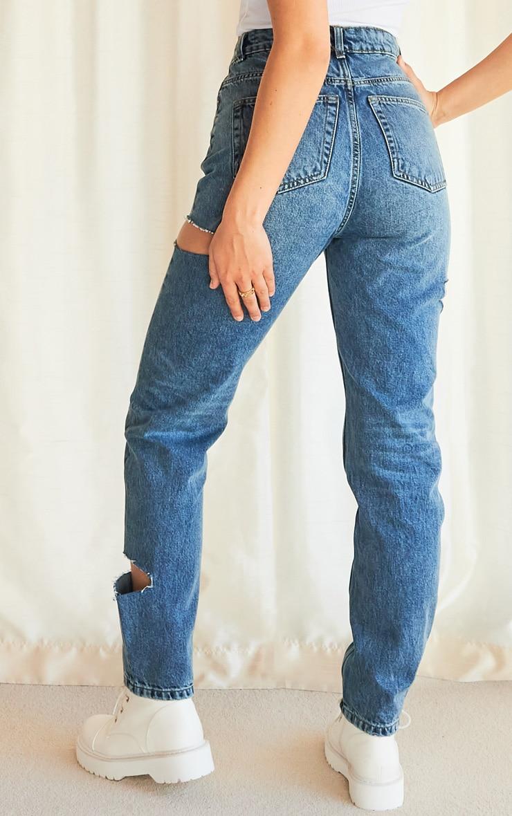 Vintage Wash Thigh Split Straight Leg Jeans 3