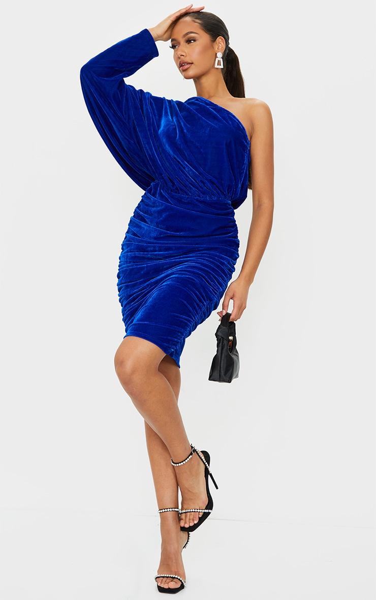 Cobalt Velvet One Shoulder Ruched Midi Dress 1