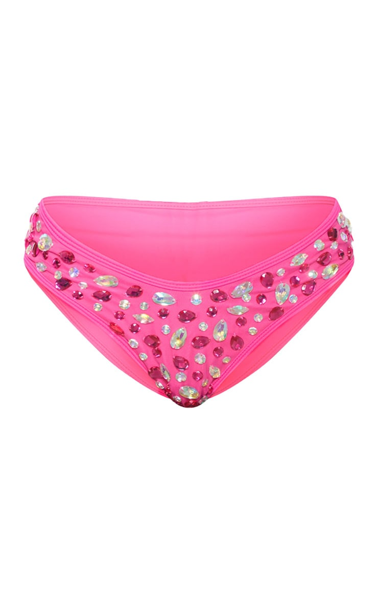 Neon Pink V Front High Leg Jewelled Bikini Bottom 4
