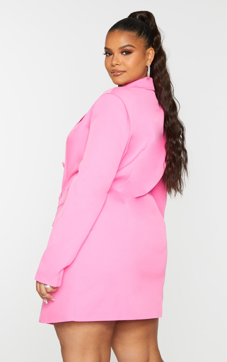 Plus Hot Pink Double Breasted Structured Blazer Dress 2